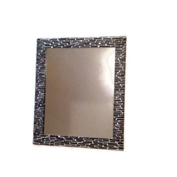 Black and white mirror large decorative mirror shabby chic for Fancy white mirror