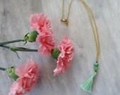 SALE: Long Mint Tassel Necklace