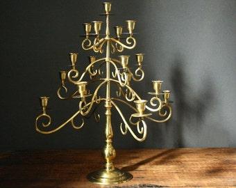 Brass candelabrum, vintage brass candelabra, 17 candles,  17 light candelabrum, vintage brass candleholder