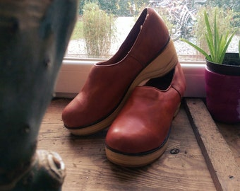 Vintage Wooden Leather Clogs EU40