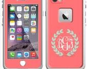Monogrammed Lifeproof® Phone Case Decal, Personalized Lifeproof® Skin, Lifeproof® Fre, Lifeproof® Nuud, iPhone 5/5C/6/6Plus Solid Leaf Frame