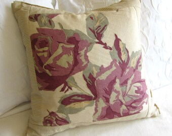 shabby chic original print decorative  pillow 20x20 insert included