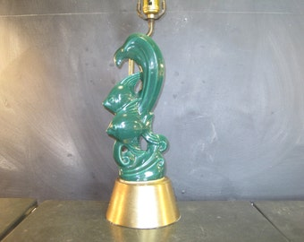 Vintage Mid Century Green Ceramic Figural Fish and Brass Table Lamp