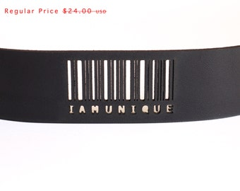 black leather cuff bracelet - Slim Barcode Cuff in Black Leather with Snaps: IAMUNIQUE - modern design, laser cut