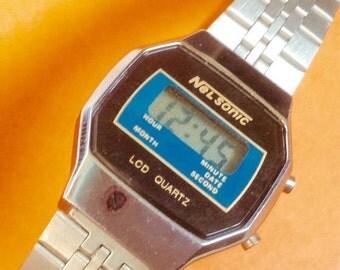 WATCH CLEARANCE EVENT Nelsonic women's vintage Lcd Watch Digital watch