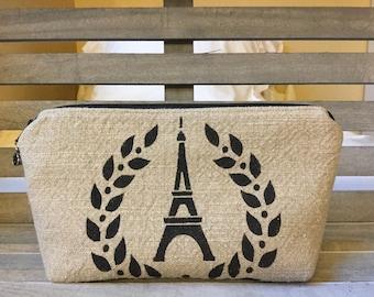 Textured Linen Fabric Paris Makeup Bag
