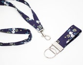 Navy blossom Fabric Lanyard for ID badge and Fob key chain