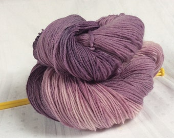 SALE Hand dyed Variegated 4ply Knitting or Crochet yarn. Sock Yarn. Variegated Mauves. 'Victoria Plum' Colorway