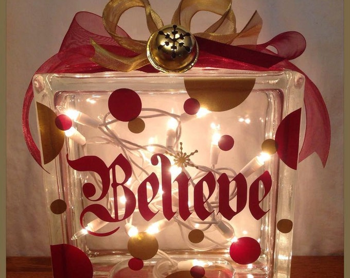 Polar Express Themed BELIEVE GLASS BLOCK with Real Golden Snowflake Bell 20 White Lights & Ribbon Holiday Decor for Mantel Foyer Entryway