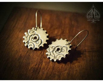 Sterling Silver gear cog earrings with filigree