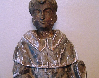 """Antique Saint Anthony 24"""" Colonial Santos Statue, 19th Century, Carved Wood"""