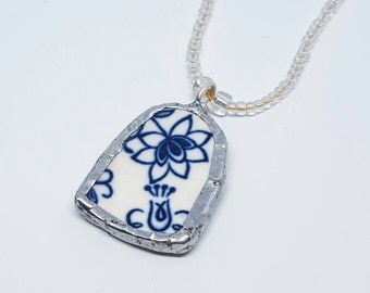 Blue Flower China Piece Rounded Arch Pendant with Silver Solder Edging on Beaded Necklace