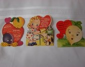 Group of 3 Vintage Valentines Day Cards Used with Turnip/Girl and Kitten/ Pear and Plum/ All with Heart Backgrounds 1940-50's