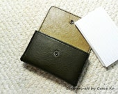 "100% hand stitched olive green cowhide leather 3""x 5"" index cards  / camera / cell phone / business cards holder / case / pouch"