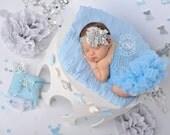 Girls Headband, Silver Gray, Baby Toddler Bow, Satin Chiffon, Rhinestones Pearls, Glitter Elastic, All Sizes