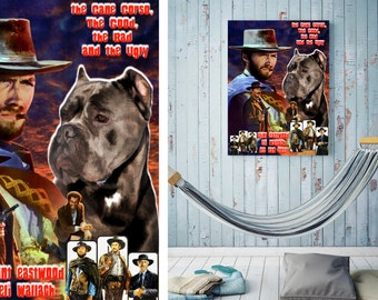 Cane Corso Vintage Movie Style Poster Canvas Print - The Good, the Bad and the Ugly NEW Collection by Nobility Dogs