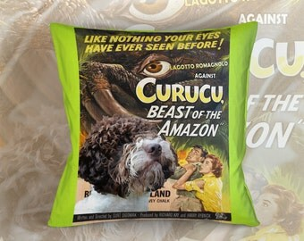 Lagotto Romagnolo Art Pillow Case Throw Pillow - Curucu, Beast of the Amazon Movie Poster  Perfect DOG LOVER Gift for Her Gift for Him
