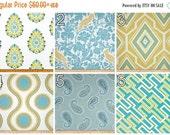 SALE Aqua Curtains- Pair of Drapery Panels- Premier Prints Coastal Blue and Saffron Yellow Curtains- 25 or 50W x 63 84 96 108 120 inch Drape