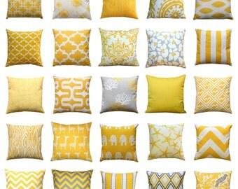 Decorative Yellow Pillow, Corn Yellow Pillow Cover, Mustard Toss Pillows, Throw Pillows, 18x18 Zippered Pillow, Modernality Home Decor