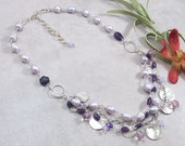 Amethyst, Freshwater Pearl, Swarovski Crystal Sterling Silver 3 Strand Charm Necklace