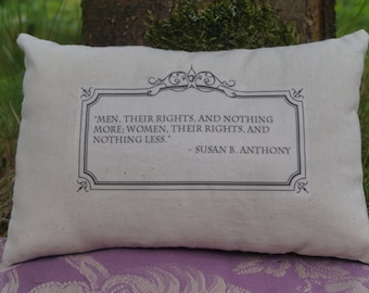 Susan B. Anthony Miniature Throw Pillow Cushion