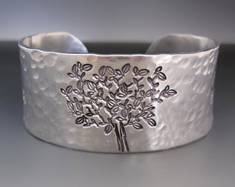 Personalized Silver Tree of Life Cuff Bracelet /  Custom Hand Stamped Jewelry / 1 inch / 10 year Anniversary Gifts / Mother's Day Gifts