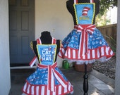 """Dr Seuss """"Cat in the Hat"""" Mother Daughter  Aprons"""