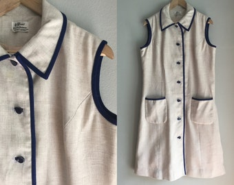 Linen dress size large 60's MOD style