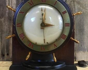 Vintage Clock, Telechron Electric Clock, 1939 Telechron Nautical Shelf Clock, The Vagabond 4H89, Captain's Wheel Vintage Electric Clock