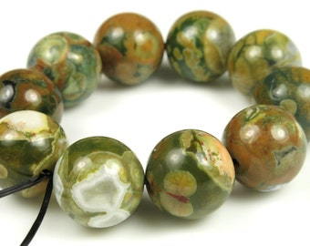 Australian Rainforest Rhyolite Jasper Round Bead - 12mm - 10 beads - B5634