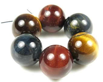 Red / Blue / Golden Tiger Eye Large Round Bead - 14mm - 6 beads - B5803
