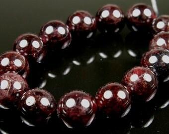 Dark Wine Red Garnet Round Bead  - 8.5mm - 14 Pieces - B4005