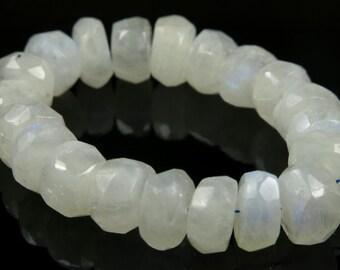 White Moonstone Simple Cut Rondelle Bead - 7.5mm x 3mm - 20 beads - B4145