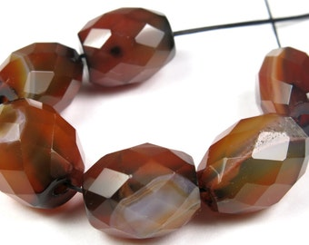 SALE - originally 13.98 - Dainty Natural Macro-Faceted Carnelian Barrel Bead - 15mm x 12mm - 6 Pieces - B4192
