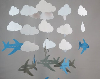 Airplane and Cloud Baby Mobile in Gray, Blue and White