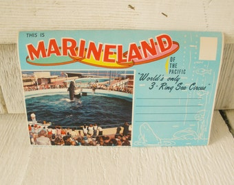 Vintage fold-out postcards Marineland tourist attraction souvenir California oceanarium  1960s