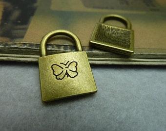 30pcs 15x24mm The Lock  Antique Bronze Retro Pendant Charm For Jewelry Bracelet Necklace Charms Pendants C6739