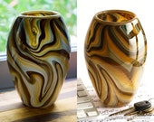 "Hand Blown Glass Vase - Tall ""Basket"" Shape with Earthy Grey and Brown Swirls"