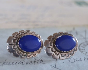Navajo Lapis and Sterling Earrings - Signed AB - Pierced