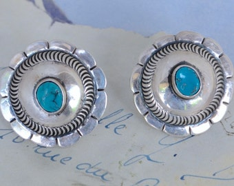 Vintage Navajo Turquoise and Silver Clip Earrings