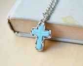 Silver Encrusted Turquoise Howlite Cross Necklace