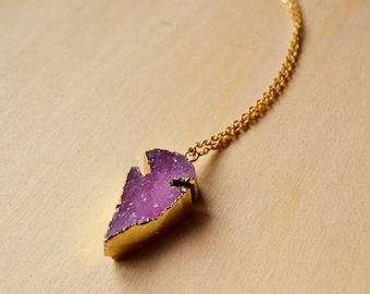 Purple Raw Crystal Arrowhead Druzy Necklace