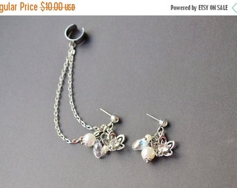 VALENTINES DAY SALE Silver Lotus Flower and Pearl Ear Cuff Earrings (Pair)