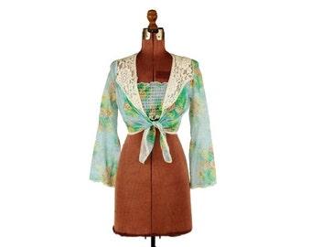 ON SALE Vintage 1970's Sheer Cotton Gauze Sky Blue Floral Lace Trim Waist Crop Top Tie Boho Blouse Shirt S