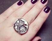 Silver Clock Work Ring - Adjustable Steampunk Clock Ring - Silver Steam Punk Jewelry - Silver Clock Ring