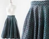 1950s India Cotton Skirt / Circle Skirt / Blue Green Cotton Skirt / 1950s 1960s Cotton Skirt / Small
