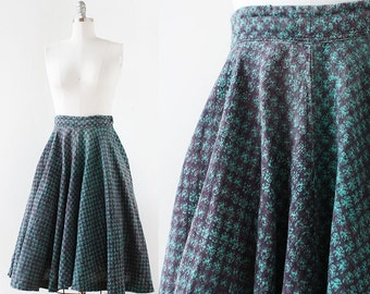 1950s India Cotton Skirt / Circle Skirt / Blue Green Cotton Skirt / 1950s 1960s Cotton Skirt / Small