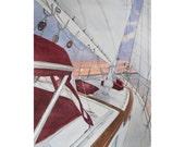 The Diamond -  Sailboat Florida Nautical Bluewater Bay-   11 x 14