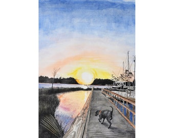 Florida Marina Scene Dog Sunset ORIGINAL watercolor pen ink painting  14 x 20