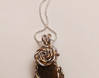 Genuine #Topaz #Sea #Glass #Genuine #Gold #Silver #Wire #Wrapped on #Shiny #Silver #Chain #Beach #Nautical #Ocean